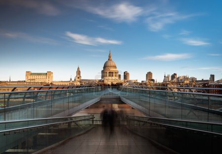 Photo for St Paul's Cathedral viewed from the Millennium bridge over river Thames, London, England. - Royalty Free Image