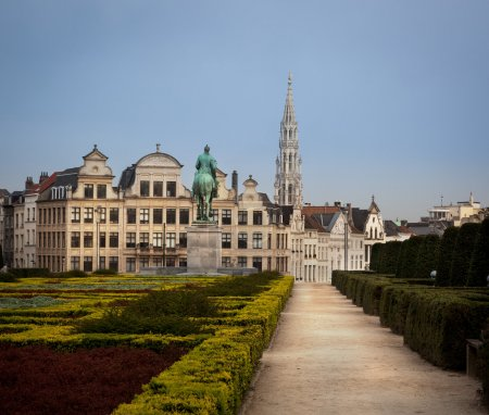 Photo for The garden of the Mont des Arts has a great view on the Grand-Place and the historic centre of Brussels, Belgium. - Royalty Free Image