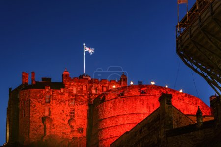 Photo for Edinburgh castle illuminated by colorful lights during edinburgh festival at Edinburgh, Scotland - Royalty Free Image