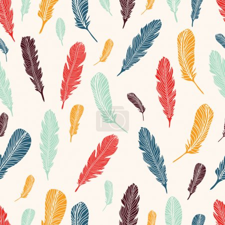 Cute seamless pattern with feather