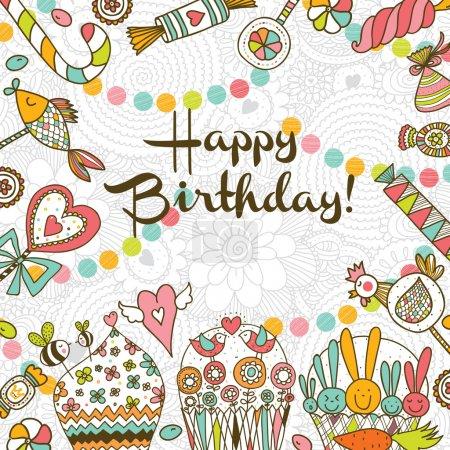 Illustration for Happy Birthday! Sweet vector postcard. Vector illustration - Royalty Free Image