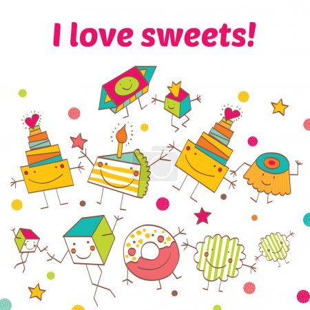 Postcard with different sweets