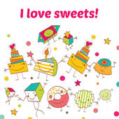 Vector illustration of cute postcard with different sweets