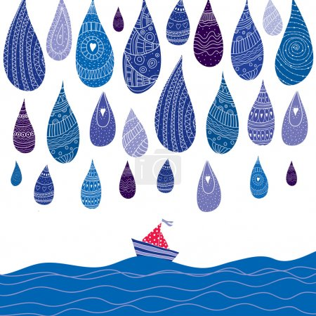 Illustration for Sailing boat in the sea and  rain - Royalty Free Image