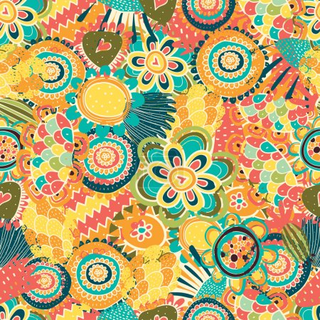 Illustration for Colorful seamless pattern with flowers. - Royalty Free Image