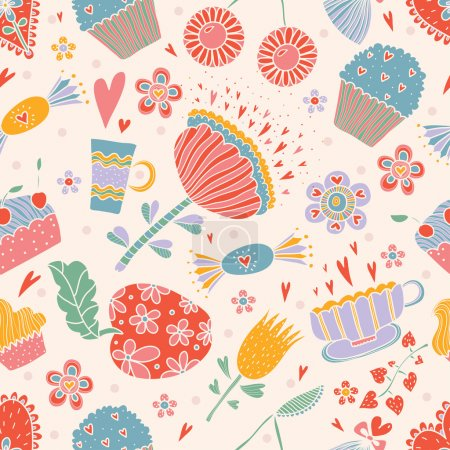 Sweets and flowers  pattern.