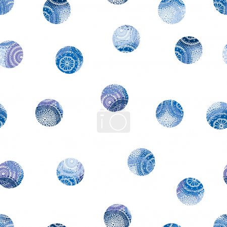 Pattern with blue ornate dots