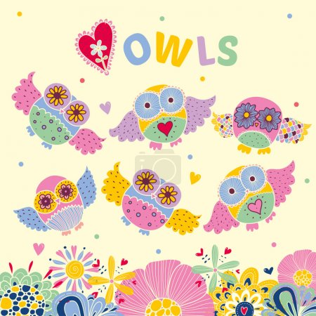 Postcard with owls and flowers