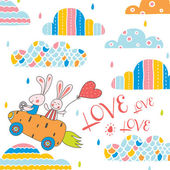Cute love postcard Vector