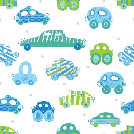 Seamless pattern with  toy cars.