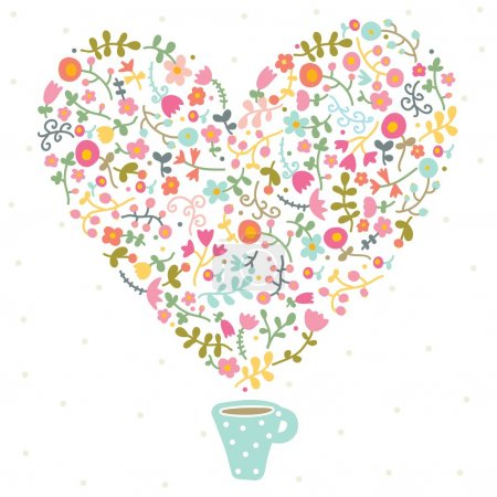 Tea with love and flowers