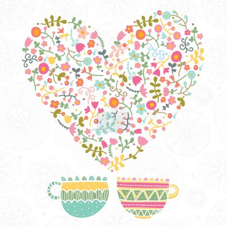 Tea with love and flowers.