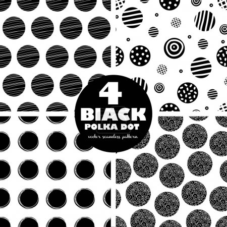 Illustration for 4 black vector seamless patterns. Polka dot. Seamless pattern can be used for wallpaper, pattern fills, web page background, surface textures. - Royalty Free Image