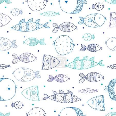 Illustration pour Modèle sans couture vectoriel avec des poissons colorés - image libre de droit