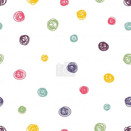 Illustration for Cute colorful polka dot. Vector seamless pattern. - Royalty Free Image