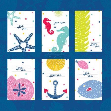 Cute postcards with sea theme