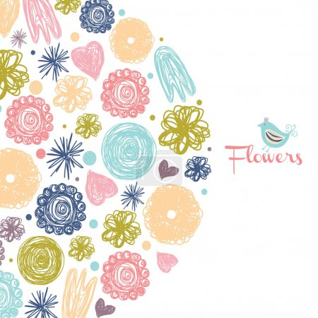 Cute colorful flowers. Vector illustration....