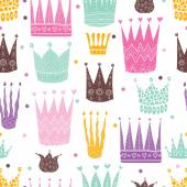 Princess crown Kids vector seamless pattern