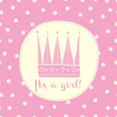 Baby girl card with crown and frame for your text