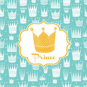 Greetings to the prince with a gold crown Vector illustration