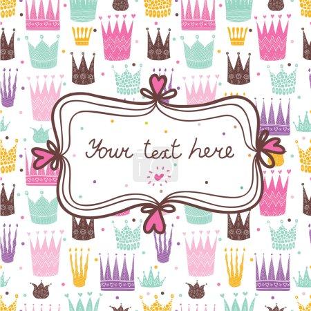 Illustration pour Carte postale princesse avec couronnes. Illustration vectorielle - image libre de droit