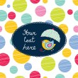 Postcard with colorful polka dot background....