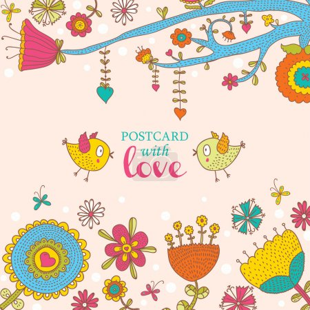 Beautiful greeting card with flowers and bird.