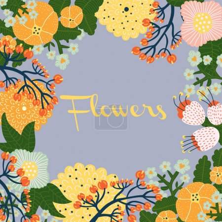 Illustration for Colorful flowers postcard. Vector. - Royalty Free Image