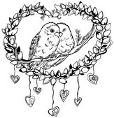 Romantic image of a pair of parrots lovebirds line drawing