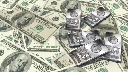 Photo pour 10 onces de barres d'argent et 100 billets de dollars texture fond - image libre de droit