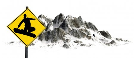 Snowboard sign in front of snowy Mountains - Mountain Peaks - isolated on white background