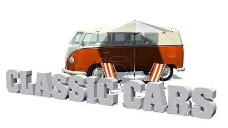 Photo pour Signe de voitures classiques avec transats devant le minibus de la samba sur fond blanc - image libre de droit