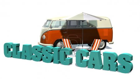 Photo for Classic cars sign with deckchairs in front of samba minibus on a white background - Royalty Free Image