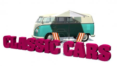 Classic cars sign with samba minibus