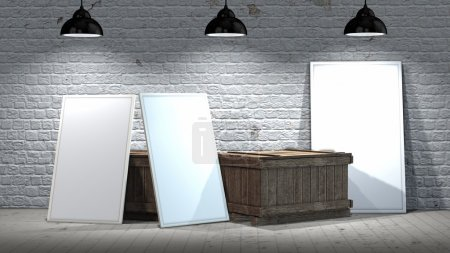 three blank frames with wooden crates on stone wall and wooden floor  illuminated with spotlights