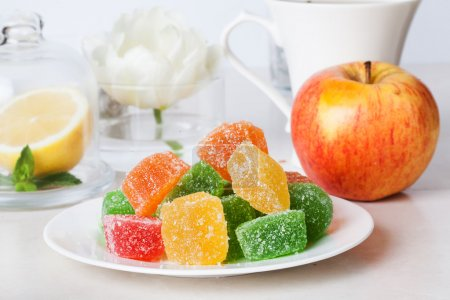 Jelly candies on a plate still life tea party food