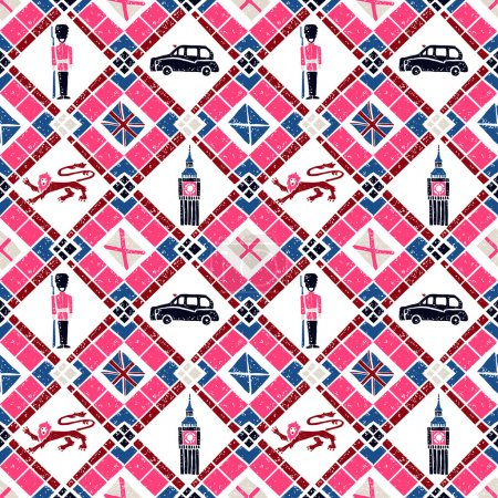 Seamless pattern Argyle and British flags