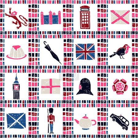 Plaid fabric seamless pattern, big english set
