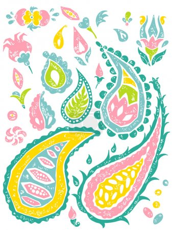 Paisley set in bright colors