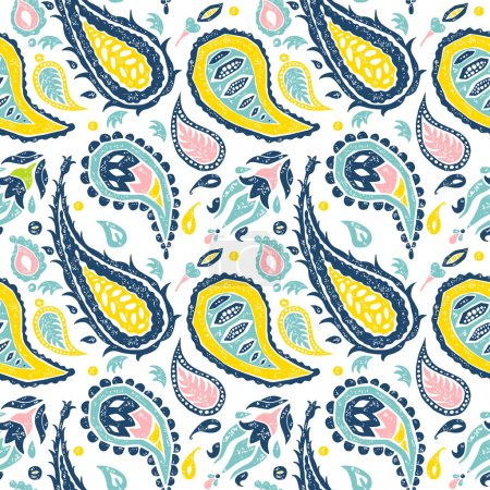 Seamless Paisley pattern in a white background