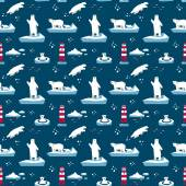 Vector seamless pattern with polar bears and lighthouse on dark blue background