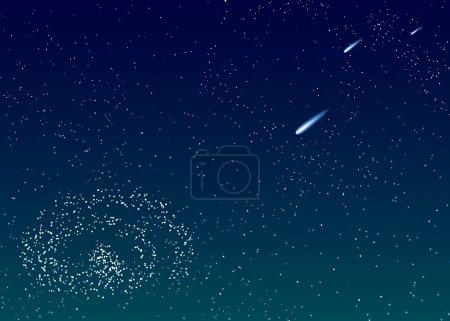 Illustration pour Le fond vectoriel est bleu foncé ciel étoilé avec des comètes - image libre de droit