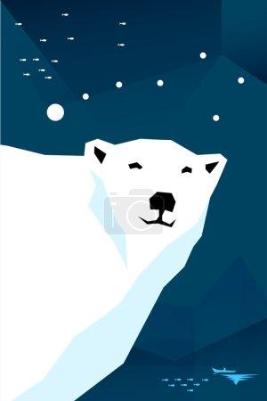 Polar bear with constellation Ursa minor