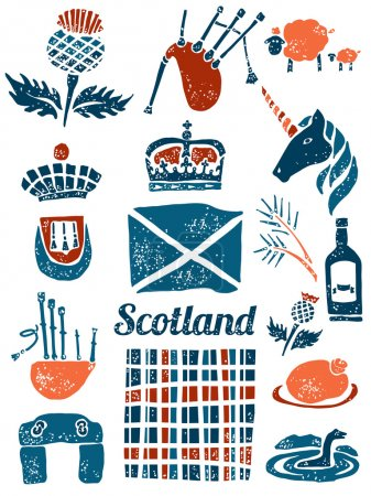 Symbols of Scotland vector set in lino style...