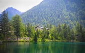 Mountain lake Lac de Champex in Switzerland