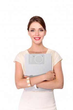 Portrait of a business woman holding  folder , Isolated on white background