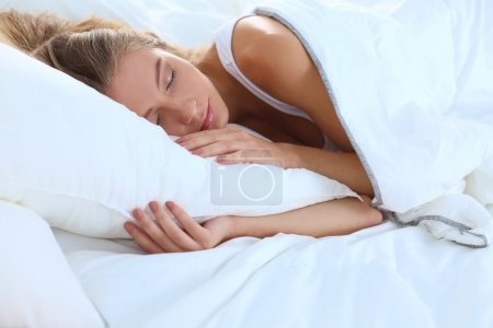 Photo for Beautiful girl sleeps in the bedroom - Royalty Free Image