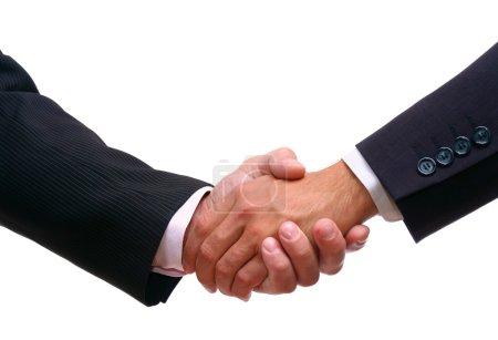 Photo pour Poignée de main isolée sur fond blanc - image libre de droit