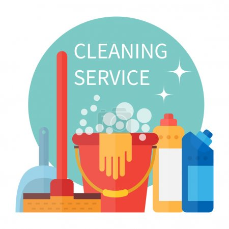 Illustration for Cleaning service poster. Housekeeping tools. Vector illustration - Royalty Free Image