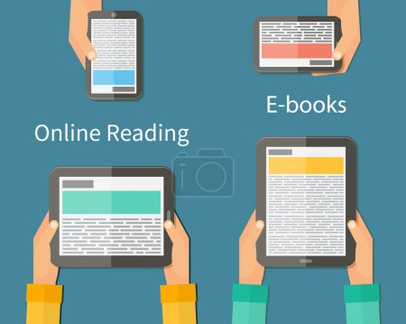 Online reading and E-book. Mobile devices technology concept. Vector illustration.